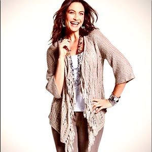 NEW Chico's soft sequin fringe cardigan sweater